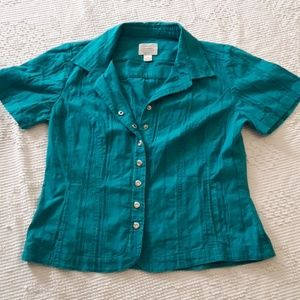 Christopher & banks stretch snap button down top